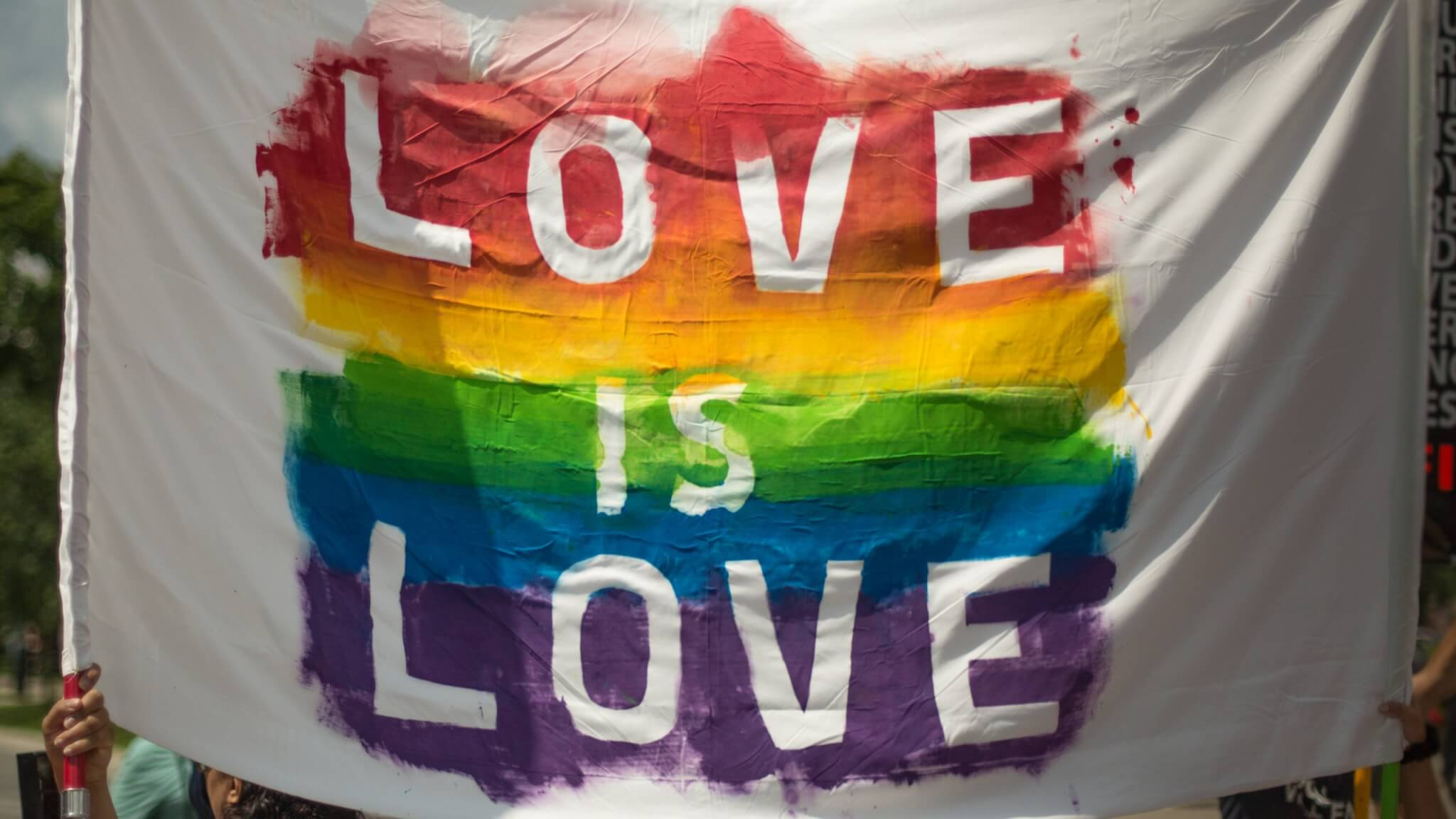 "rainbow ""love is love"" lgbtq banner"